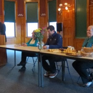 Book launch at Fort Wayne History Center, l-to-r: Todd Pelfrey, Helen Frost, George Ironstrack, Dani Tippmann