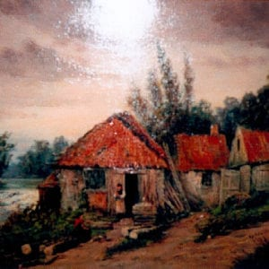 A painting of an old mill home in Lave Mill, Scotland. Helen's ancestors emigrated from Lave Mill, to Prince Edward Island, Canada.