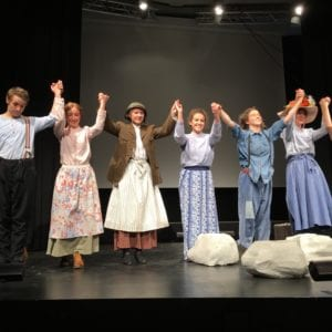 University students in Freiburg, Germany, perform a play of Crossing Stones. Written by Suzanne Franz, directed by Mechthild Hesse.