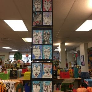 """Self-portraits as dogs"" artwork from Graham Elementary, Austin, Texas"