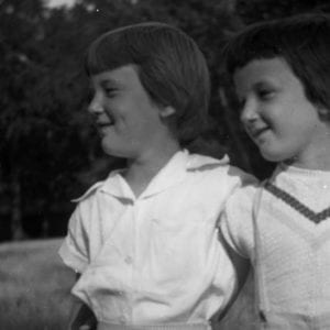 I was one of eight sisters, and the book is not about any one of them specifically, but this is me with my sister, Barbara, two years older than I am. We were about 6 and 8 in this picture.